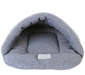 Fully Sleeping Bag Shape Luxury Pet Beds Cave Mat Cozy Warm House Self Warming Sack for Dogs Cats Rabbits (L (48x58cm), Grey)