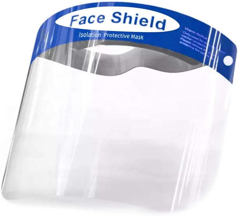 Pantalla Protección Facial - 10 Pcs Protector Facial de Seguridad, Cómoda, Visera Ajustable, Reutilizable, Ligera, Azul- para Hombres y Mujeres