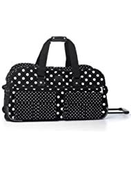 Victorias Secret PINK Womens Black White Polka Dot Wheelie Suitcase Duffle