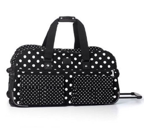 Victoria's Secret PINK Women's Black White Polka Dot Wheelie Suitcase Duffle (Dot Rolling Luggage Polka White)