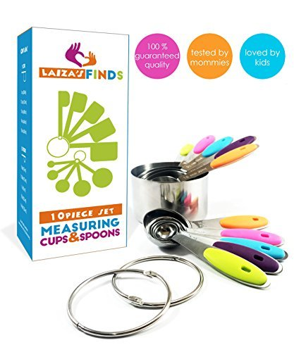 Measuring Cups and Spoons Set – Incl 5 Measuring Cups Stainless Steel 5 Spoons and Clips | Use with Wet or Dry Ingredients | Stackable Nesting Variety Pack | 10 Piece Set