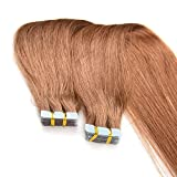 Chisonhair Tape in Hair Extensions Brazilian Virgin Human Hair Extensions 100g/pack 40pcs Remy Straight Hair color #27 (14