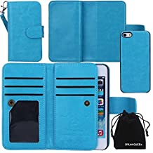 iPhone SE Case, DRUnKQUEEn Card Holder iPhone 5S 5 Case Wallet Leather Flip Case - Detachable Magnetic Hard Back Cover with Lanyard Wrist Strap for iPhoneSE iPhone5s - Blue