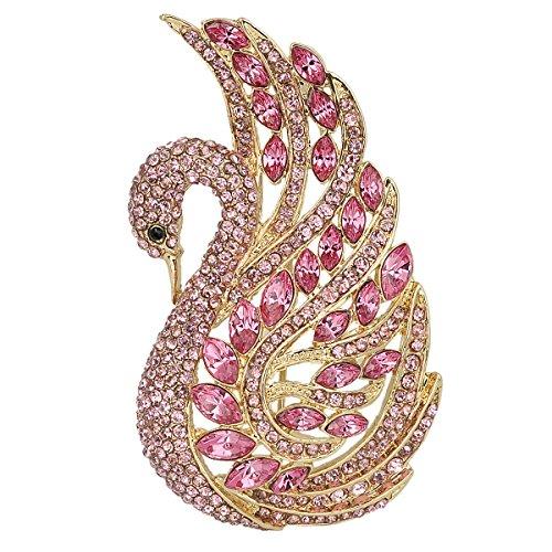 EVER FAITH Women's Austrian Crystal Elegant Swan Bird Brooch Pin Light Pink Gold-Tone
