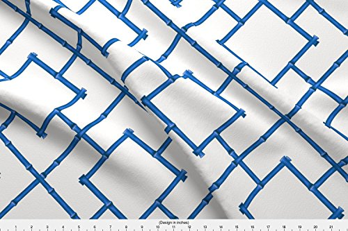 Spoonflower Bamboo Fabric - Blue and White Chinoiserie Chic Trellis Lattice - by Willowlanetextiles Printed on Kona Cotton Ultra Fabric by The ()