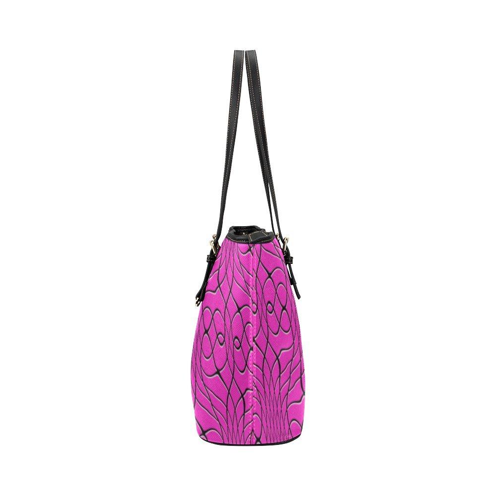 InterestPrint Pink Pineapple Twist Leather Tote Bag Large
