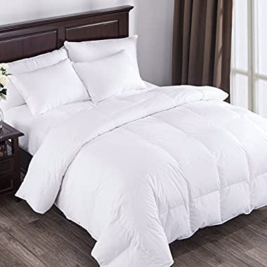 Puredown All Seasons White Down Comforter Cotton 600 Fill Power, Full/Queen Size, White