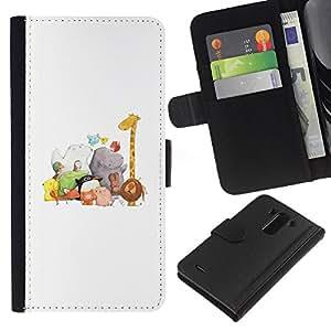 KingStore / Leather Etui en cuir / LG G3 / Zoo Blanca Dibujo Jirafa Hipona
