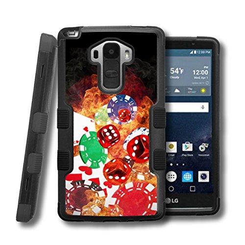 LG G Stylo LS770 Case, CaseCreator[TM] NATURAL TUFF Hybrid Rubber Hard Snap-on Case For LG G Stylo LS770, Black Black-Cards Dice Chips