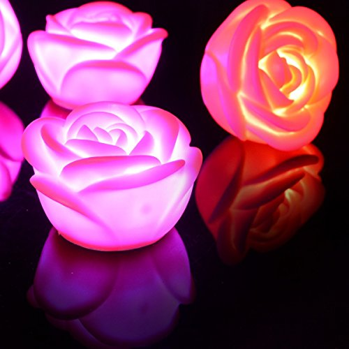 kingleder 5 Pack Color Changing LED Rose Flower Romantic Night Lights for Valentine Wedding Decoration Party Lamp Candle lights(Pink body)