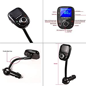 Ecandy Univeral Lcd Display Bluetooth Wireless Car MP3 FM Transmitter Modulator Radio Adapter Handsfree Car Kit,Music Control for Iphone 6 5S 5 5C 4S 4 iPod,Android Smart Cell phone And Other Devices