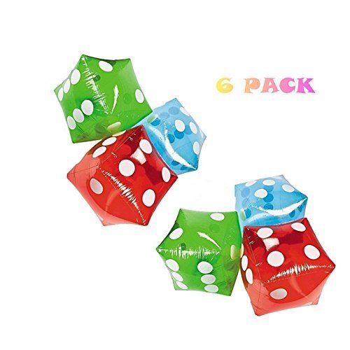 SET of 6 ~ Giant inflatable dice - 16 RED BLUE and GREEN by happy deals