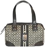 Tommy Hilfiger Signature Satchel Handbag Purse Black Bag