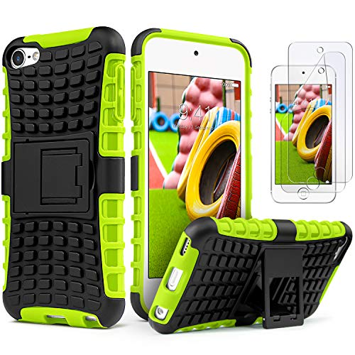 iPod Touch 7 Case with 2 Screen Protectors,iPod 6 Case,iPod 5 Case, IDweel Heavy Duty Dual Layer Shockproof Hybrid Rugged Cover Case with Built-in Kickstand for Apple iPod Touch 5/6/ 7th Gen, Green