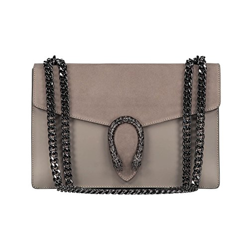 RONDA Italian Baugette clutch mini wallet cross body bag with nickel chain smooth stiff leather and suede (light taupe) ()