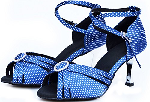 Shoes Dance Professional Salsa Womens Peep Shoes 006 Blue Latin for Dancing Women Toe qEzwCZz