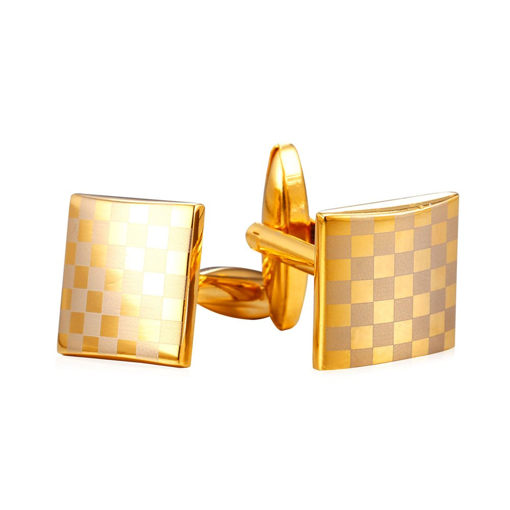 Gentlemen 18K Gold Plated Business Cufflinks 2 Pieces