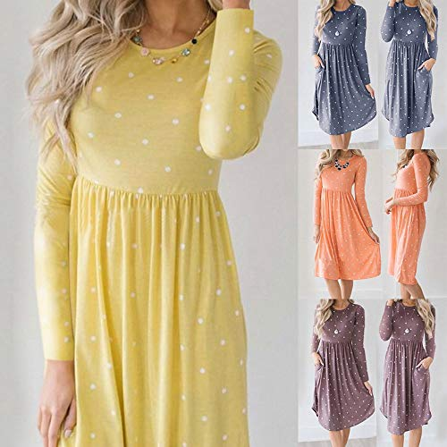 JESPER Women Swing Casual Dot Printing Round Neck Dress Long Sleeve Evening Party Dress Orange by JESPER (Image #7)