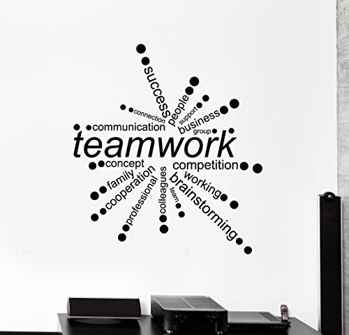Large Vinyl Wall Decal Teamwork Words Office Decor Business Stickers (ig4342) Dark Blue