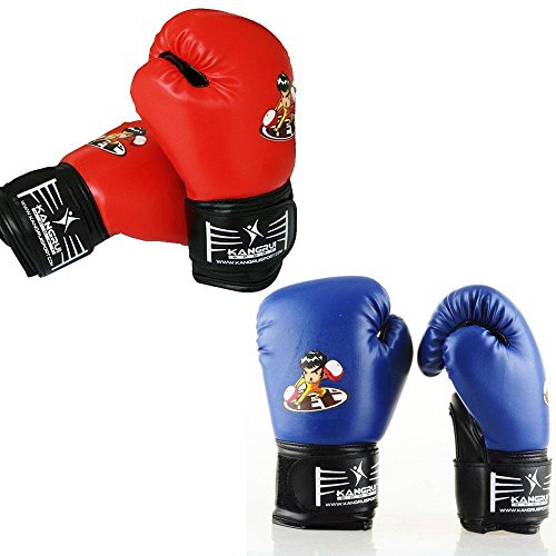 PU Kids Cartoon Sparring Boxing Gloves Training Red (Age5-15) (Fancy Dress Boxing Gloves)