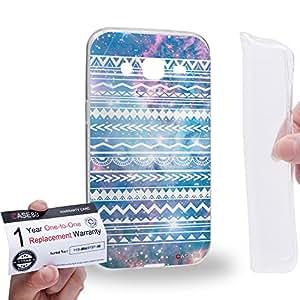 Case88 [Samsung Galaxy J2] Gel TPU Carcasa/Funda & Tarjeta de garantía - Art Aztec Design Galaxy Overlay Blue Mix Art0783