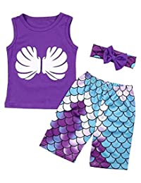 SUPEYA Kids Baby Girls Shell Print Vest Tops+Fish Scales Shorts Pants+Headband Set