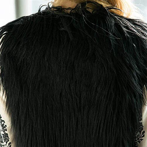 Schwarz Festivo Sólido Chalecos Moda Mujeres Sleeveless Placket Sintético Sin Casuales Elegantes Chaqueta Mujer Color Abrigos Otoño Piel Cómodo Vintage Mangas Outerwear Invierno De OrwOq4xB