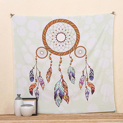 Usstore 1PC Square Dreamcatcher Bohemian Hippie Curtain Home Shower Beach Towel Swimwear Bathing Suit Wall Hanging Bedspread Tablecloth Cloth Yoga Mat Throw Decor (D)