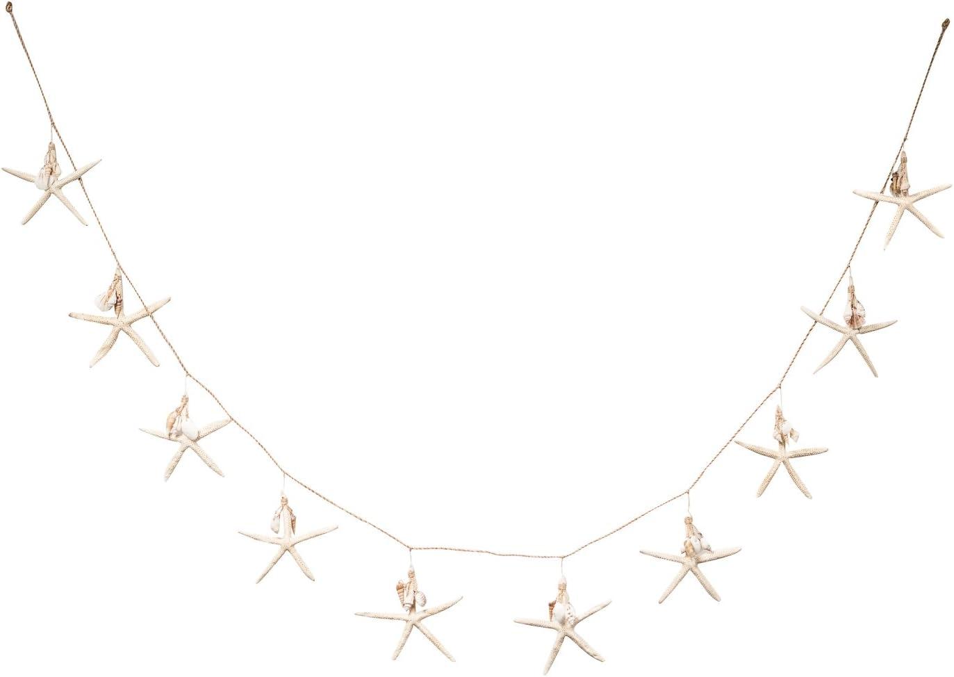 Nautical Garland | White Starfish with Mini Shell Dangles | 6' Beach Garland for Decoration | Plus Free Nautical eBook by Joseph Rains