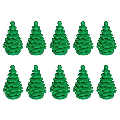 LEGO NEW 10 pcs GREEN PINE TREE SMALL 2x2x4 Plant Christmas City Town Building Forest Greenery Foliage Train Pack set boy girl part piece: Toys & Games