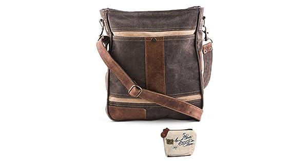 Amazon.com: Mona B upcycled Cameron Canvas & piel Crossbody ...