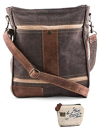 Amazon.com  Mona B Upcycled Cameron Canvas   Leather Crossbody Bag ... 4e9872427fc48