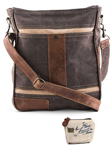 Mona B Upcycled Cameron Canvas & Leather Crossbody Bag with Coin - Myra Slip