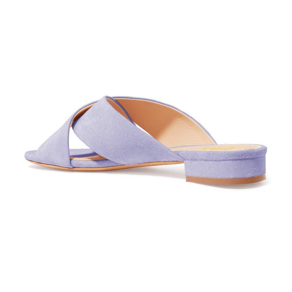 FSJ Women Comfortable Cross Strap Sandals Low Heels Mules Slide Casual Flats Shoes Size 4-15 US B077SRTCBW 12 B(M) US|Lavender