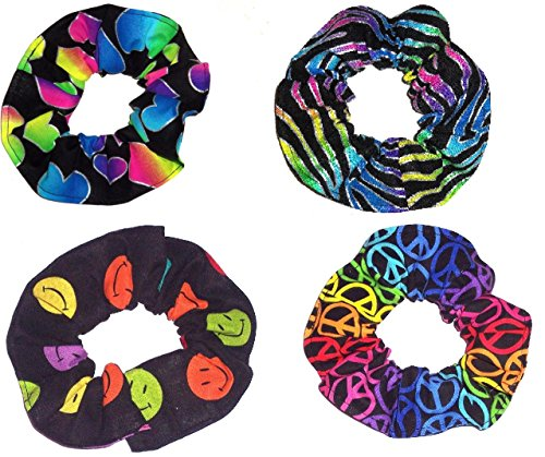 4 Neon Rainbow Peace Signs Fabric Hair Scrunchies Scrunchie Zebra Happy Faces Hearts made by Scrunchies by Sherry