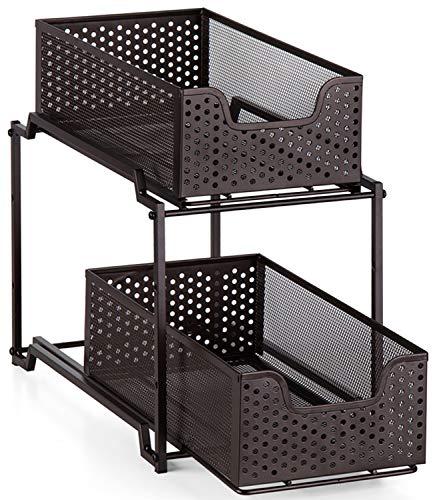 Bextsware Stackable Multi-Function Under Sink Organizer, 2 Tier Cabinet Organizer with Sliding Sorters Basket, Bronze (Sliding Organizer)