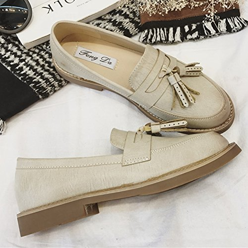 Giy Femmes Rétro Slip Sur Verni Oxford Chaussures Gland Lace Up Casual Chaussures Bout Rond Kaki
