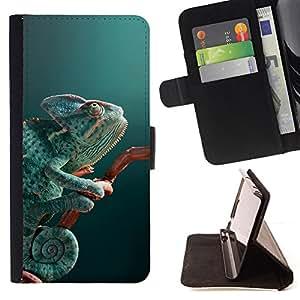 - lizard chameleon mint green teal nature - - Prima caja de la PU billetera de cuero con ranuras para tarjetas, efectivo desmontable correa para l Funny HouseFOR Samsung Galaxy S6