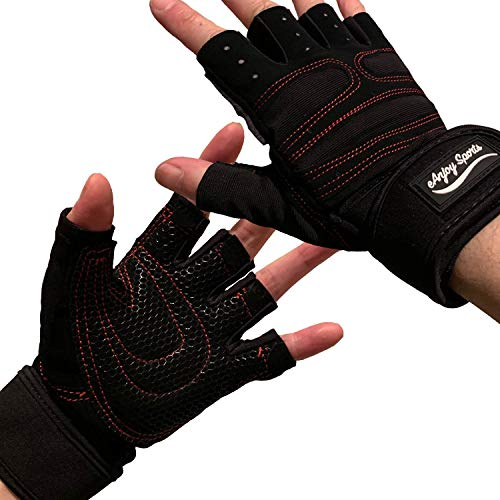 (2019 Update) Weight Lifting/Workout Gloves with Integrated Wrist Support for Men and Women; Lightweight Gym Gloves with Extra Silica Padding for Palm Protection and Strong Grip (S, Full Back)