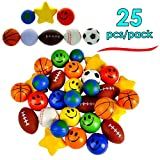 Stress Balls Assortment of Various Stress Balls - Pack of 25 - Relaxable Squeeze Balls
