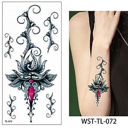 lijinjin Etiqueta Engomada del Tatuaje Temporal Flores Negras ...