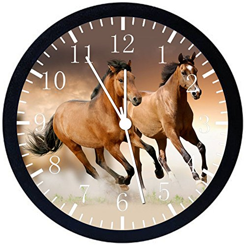 """Rusch Inc. Beautiful Horse Black Frame Wall Clock E356 Nice For Gift or Home Office Wall Decor 10"""""""