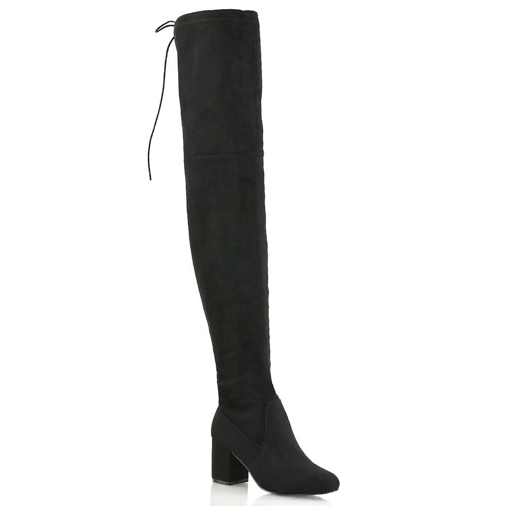 ESSEX GLAM Womens Lace Up Black Faux Suede Thigh High Low Mid Heel Boots 7 B(M) US