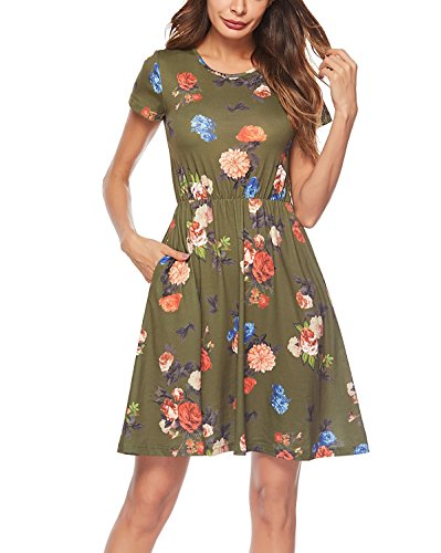 Lyrur Women's Army Green Floral Print Summer Holiday A Line Dress (M,6042-Green Floral)