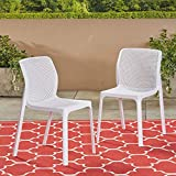Great Deal Furniture Chelsea Outdoor Plastic Chairs (Set of 2), White