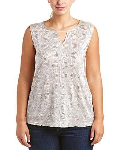 BB Dakota Women's Plus-Size Patton Crinkle Metallic Front Cut Out Top, Gold, 3X