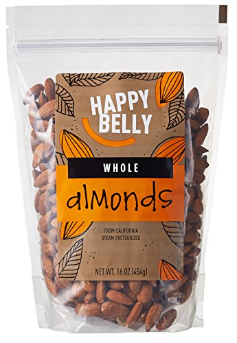 Amazon Brand - Happy Belly Whole Raw Almonds, 16 Ounce