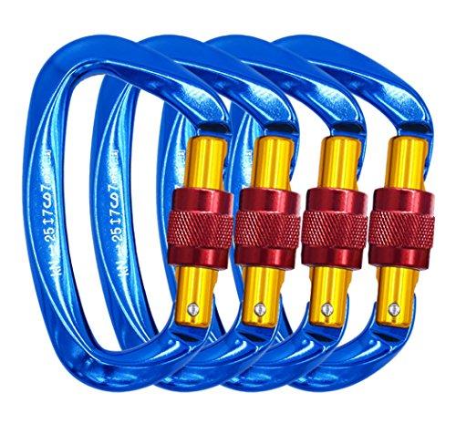 (NewDoar 25KN Carabiner Ultra-Light Climbing Locking Carabiner CE Certified (4 Pack, Blue))