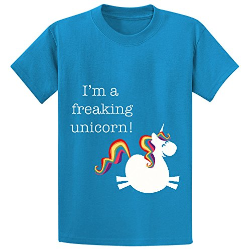 Freaking Unicorn Girls Crew Neck Short Sleeve Tees Blue