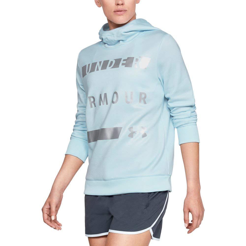Under Armour Women's Synthetic Word Mark Fleece Pullover, Halogen Blue (441)/Metallic Silver, X-Small